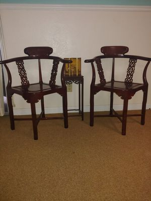 Solid Rosewood Asian style chairs with end table for Sale in Modesto, CA