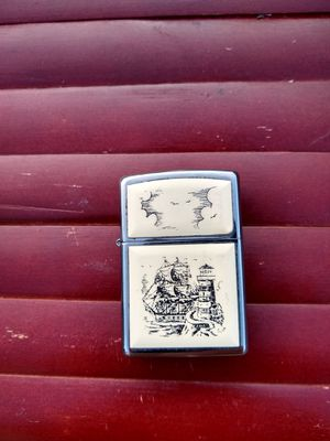Vintage Zippo Ship and Lighthouse Scrimshaw Lighter for Sale in Port Orchard, WA