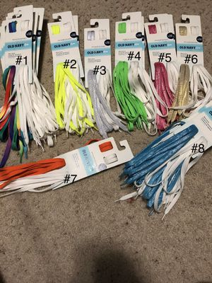 Old Navy Shoe Laces New 4 packs for $5 for Sale in Sanger, CA