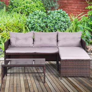 Rattan Sofa with Chaise Lounge Loveseat Coffee Table 3 pc Outdoor Patio Furniture Wicker Weave for Sale in Sacramento, CA