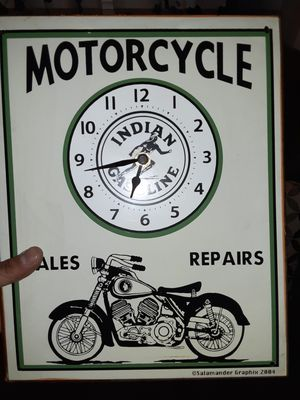 vintage style Indian gasoline motorcycle clock for Sale in Palmdale, CA