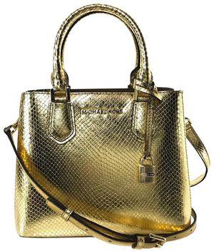 Michael Kors Adele Medium Shoulder Gold Embossed Leather Messenger Bag for Sale in Hudson, NH