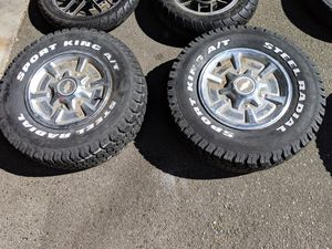 2 wheels/rims tires great tread 235 75 15 for Sale in Seattle, WA