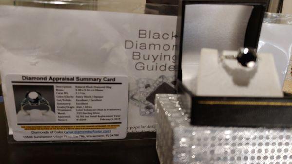 New Genuine Black Diamond 3.17 cts Womens size 7
