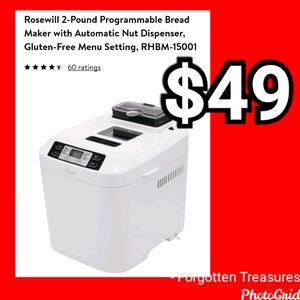 NEW Rosewill 2 Lb Programmable Bread Maker w/Automatic Nut Dispenser & Gluten Free Setting: njft hsewres appliances for Sale in Burlington, NJ