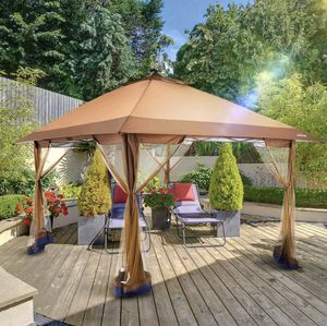 Brand New Brown Outdoor Gazebo Canopy Solar LED Lights Mosquito Net Tent for Sale in Atlanta, GA