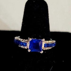 NEW ESTATE FIND 925 SILVER SQUARE BLUE SAPPHIRE CZ SIZE 7.5 STUNNING RING BLOWOUT SALE for Sale in Manalapan Township, NJ