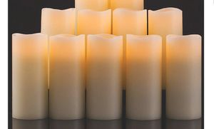 Set of 10 Enpornk Set of Flameless Candles Battery Operated LED Pillar Real Wax Flickering Electric Unscented Candles with Remote Control Cycling 24 for Sale in Bakersfield, CA