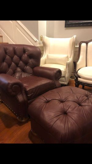 Tufted leather chair & ottoman for Sale in Atlanta, GA
