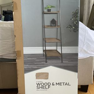 5 Tiered Wood and Metal Shelf for Sale in Whittier, CA