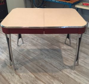 Vintage Formica smaller dining room / kitchen table red black chrome for Sale in Lancaster, CA
