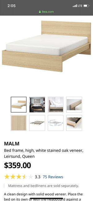 MALM Bed frame, high, white stained oak veneer, Leirsund, Queen for Sale in Walnut Creek, CA
