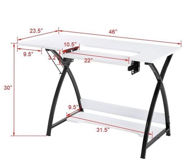 TUFFIOM 46-Inch Sewing Craft Table, Specialized Sewing Machine Shelf, Enlarged Cutting Space, Sturdy Multifunctional Computer Desk with Storage, Adjus