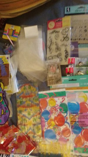 (2 of 3)Lg.Ziploc bag of birthday supplies bags -stamp set never opened and stickers letters for Sale in Lexington, KY