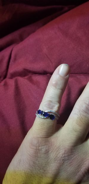 14k white gold 3 sapphire stones diamond accent ring for Sale in Vancouver, WA