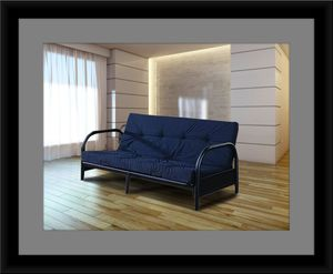 Black futon frame with mattress for Sale in Bowie, MD