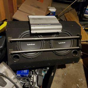 2 - 10 inch Rockford Fosgate Subs In Box W/ Alpine Amp for Sale in San Diego, CA
