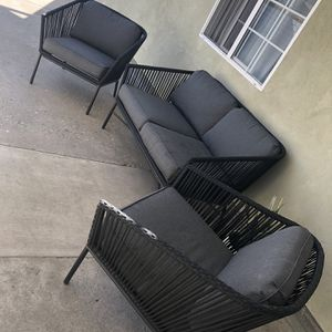 Standish Outdoor Love Seat Sofa And 2pk Patio Club Chair Black/Gray - Project 62 for Sale in Los Angeles, CA