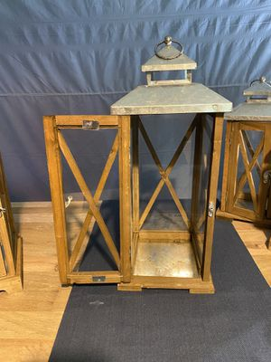 Natural Wooden Lanterns with Galvanized Top. (2 styles, sizes and prices see description) for Sale in Parkville, MD