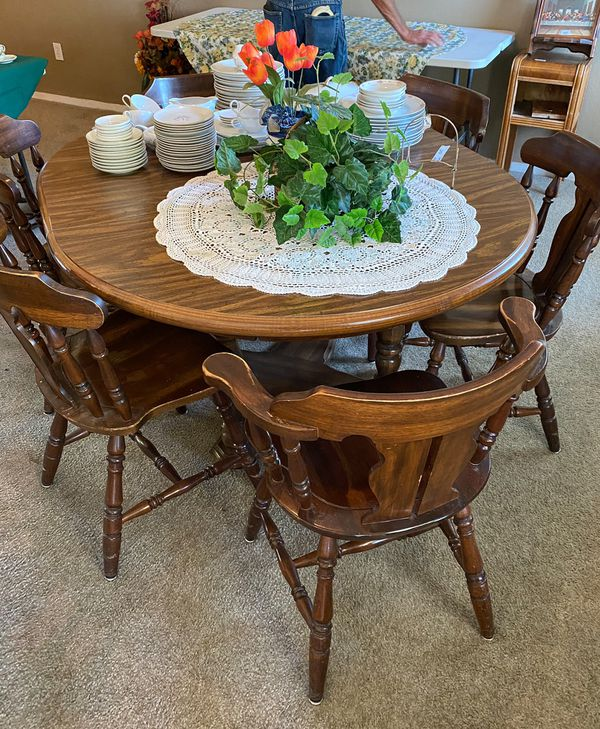 Wooden extendable Table set With 6 Chairs