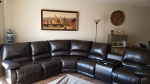 Curved Leather Sofa for Sale in Stone Mountain, GA