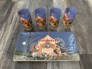 Pier 1 Halloween Pups Ceramic platter and 4 Cups for Sale in Corona, CA