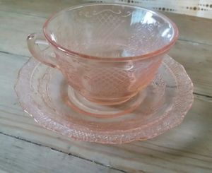 Pink Depression-era Normandie Pattern Teacups w/ Saucers 1933-40 for Sale in Beaumont, CA