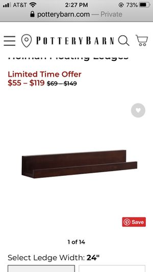 Pottery barn floating shelves. 3 pieces, priced per one item for Sale in West Springfield, VA