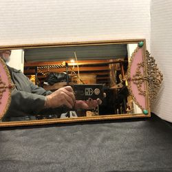 Vintage 1900's Jeweled Vanity Wall Mirror Velvet Backing Victorian Gothic for Sale in La Habra,  CA