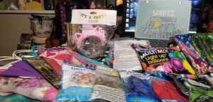 Party supplies, balloons, gift bags, unicorn headbands, ribbon, tissue paper for Sale in Benbrook, TX