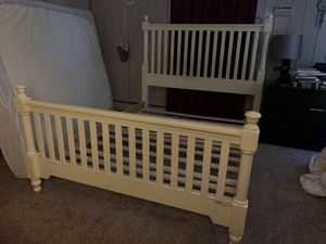 """Selling a solid wood bed frame! Also have a Queen size 8"""" memory foam mattress and two pc foundation for Sale in Allentown, PA"""