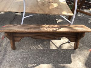 REFINISHED ANTIQUE OAK SHELF W/ SMALL HOOKS-BEAUTIFUL PIECE & PERFECT SHAPE!! for Sale in Alafaya, FL