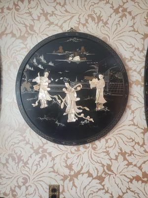Antique Black LACQUERED MOTHER OF PEARL GEISHA 3D PANELS Ancient China set of 4 for Sale in Garfield, NJ