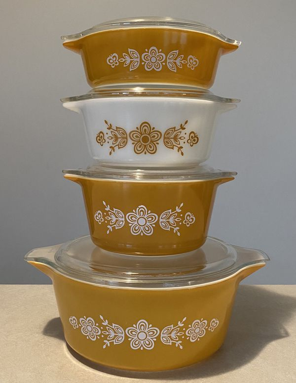 Vintage Butterfly Gold Pyrex Dishes Lot Set with Lids