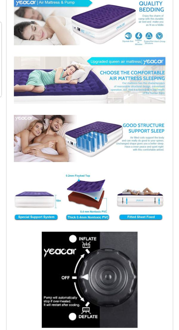 Mattress Blow up Raised Airbed Portable Inflatable Bed (Traditional Pump Queen Size) Upgraded NEW in box NEVER OPENED *Built-in High Powered Pump