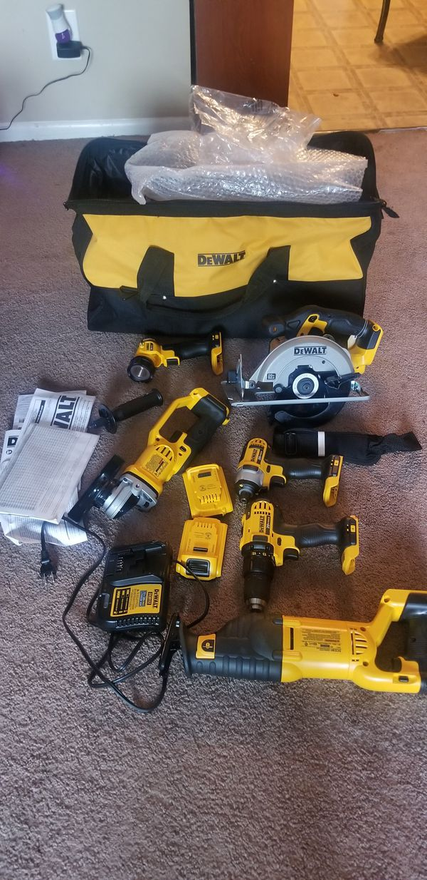 Dewalt tool sets are 6 pieces plus 2 battery charger and its new case has never been used