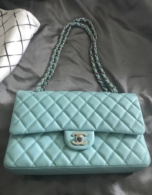 Chanel Shiny Aqua Blue Quilted Caviar Medium Classic Double Flap Bag for Sale in Fayetteville, NC