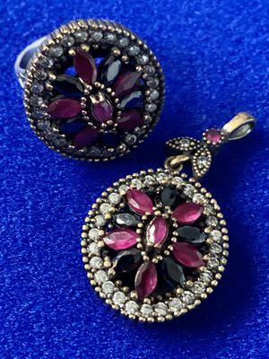 Antique Vintage Roxelana Style Ruby & Onyx Topaz Pendant Necklace & Ring Size 7 Set for Sale in Nashville, TN