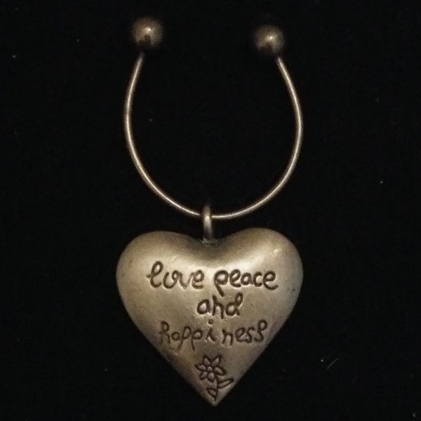 Aero Key Ring Puffy Heart Engraved Love Peace and Happiness