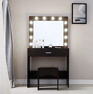 Vanity Set with Lighted Mirror, Makeup Vanity Dressing Table Dresser Desk with Mirror, 1 Sliding Drawers, 1 Cushioned Stool for Bedroom (12 Cool LED for Sale in Albuquerque, NM
