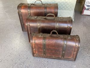 Three very unique wooden Decorator containers for Sale in Upland, CA