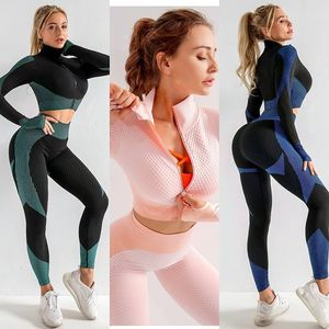 Womens Gym 2 PieceTops Legging Fitness Set Active Yoga Seamless High Waist 2 Pcs for Sale in Hialeah, FL