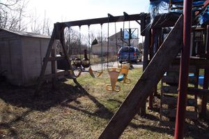 Wooden Swing Set Play Fort for Sale in Des Plaines, IL