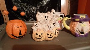 Halloween Ceramic Ghost, Wooden Pumpkin & Mugs for Sale in Martinsburg, WV