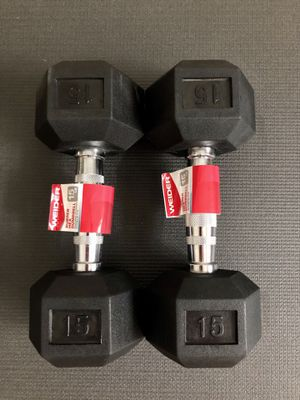 NEW Weider Rubber Hex 15lb Dumbbells / Weights for Sale in Largo, FL