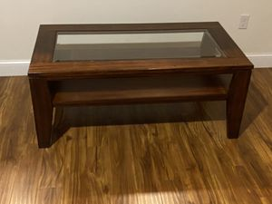Brown table with glass top for Sale in Hermon, ME