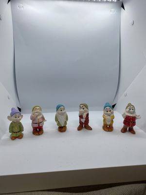 "DISNEY CHINA SNOW WHITE and the 7 DWARVES 3"" PORCELAIN FIGURINES (Sleepy broke so only 6) $100 for Sale in Tampa, FL"