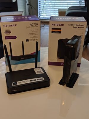 Netgear cm500 modem and ac750 router for Sale in Charlotte, NC
