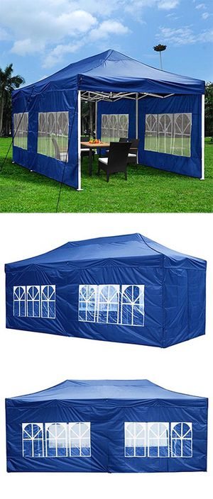 (NEW) $210 Heavy-Duty 10x20 Ft Outdoor Ez Pop Up Party Tent Patio Canopy w/Bag & 6 Sidewalls, Blue for Sale in Whittier, CA