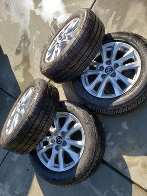 Mazda 3 rims and like new tires, Mazda wheels. Oem, 205/60/16, great condition, 5x114.3 for Sale in Riverside, CA